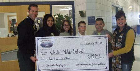 Pictured Left To Right: Mr. Luke Kelsey-Principal of Wendell Middle School, Students: Erika Nava, Bailey Pearson, Antonio Bettencourt, Andrew Vasquez, and Sharon Bettencourt, Owner of Bettencourt Dairies LLC.